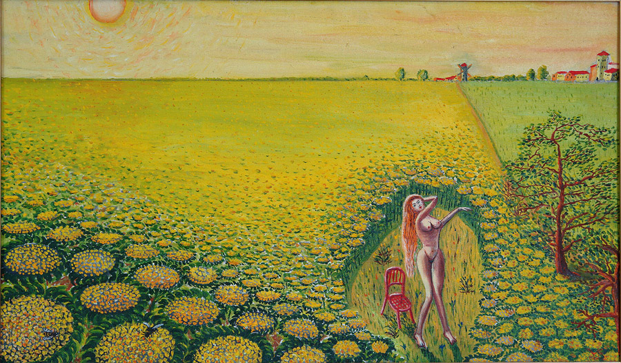 Girl is bathing in sunbeams among sunflowers